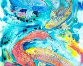"Koi 8"" x 10"" hot plate tile Art, framable Print ""Koi Pond"" high gloss by Jen Callahan Artist"