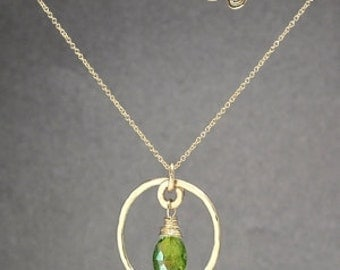Hammered pendant necklace with choice of A grade stone Necklace 311