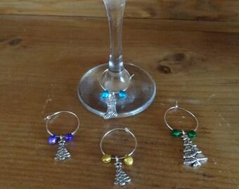 Set of 4 Christmas Wine Glass Charms (Snowman set)
