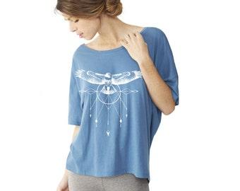 Womens Hawk DREAMCATCHER BOHO Oversized Short Sleeve Slouchy 100% Organic Cotton Tee screen print Top shirt Alternative Apparel xs s m l xl