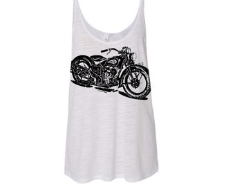 Womens Vintage Indian MOTORCYCLE Print Graphic Modern fashion boho chic Yoga Slouchy Tank Boho Top,  More colors s m l xl