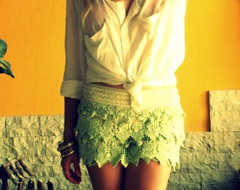 Lace Shorts, Boho Chic, Crochet Shorts, Bohemian, Summer Skort
