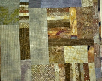 Original Quilted Art Quilt or table topper, rich browns, neutrals, and grays