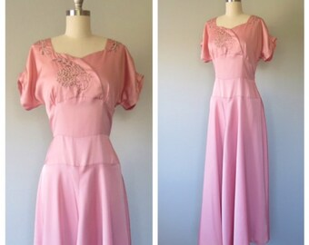 40s cold rayon beaded gown size medium / vintage cold rayon dress