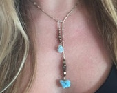 Orchid Pull Thru Necklace with Blue Druzy