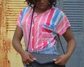 Navy Blue Handbag, Blue Purse, Women's Italian Purse, Ladies' Pocketbook, Made in Italy, Envelope Style Shoulder Bag