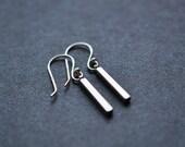 Silver Bar Earrings - Silver Bar Drop Earrings - Small Bar Dangle Earrings - Simple Modern Silver Jewelry - Aldari Jewelry Designs
