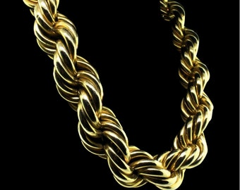 Huge Les Bernard Gold Plated Hollow Rope Statement Necklace Lightweight