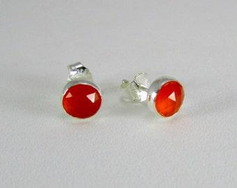Carnelian stud earrings sterling silver