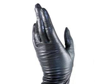 Navy leather gloves - thin, 6.5 / 7 calfskin, silk fancy dress / fitted / ladies vintage driving Van Raalte