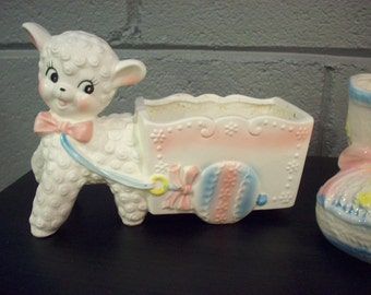 HOLD FOR KELLI Sweet Lamb & Cart Baby Planter Inarco Japan Ceramic