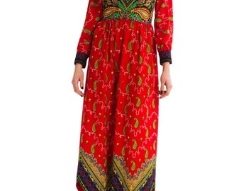 1970s Vintage Opulently Colorful Ethnic Paisley Print Dress  Size: XS/S
