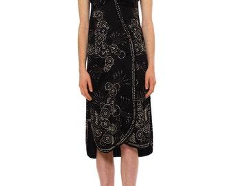 1920s Vintage Stunning Silk Beaded Black Dress  Size: XS