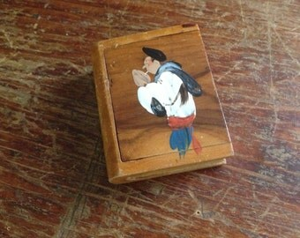 French Handpainted Wood Treen Case ~ Match Holder Strike Box ~ Artist