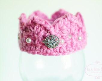 Princess Crown  Baby Girl  pink crown Newborn Photo Prop - Pink prop newborn girl twin set pink tiara