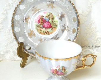 lusterware tea cup vintage footed teacup and saucer porcelain teacup pale grey teacup versailles china shabby chic  609