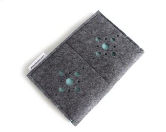 Passport Wallet, Card and Passport organizer, Passport holder, Document Wallet, Passport Case, Small Wallet- Charcoal Grey & Pastel Blue