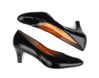 1950s Rita Hayworth Heels Vintage Old Hollywood Gilda Style Deliso Pumps Black Patent Leather Film Noir Femme Fatale Stiletto Shoes Size 9AA