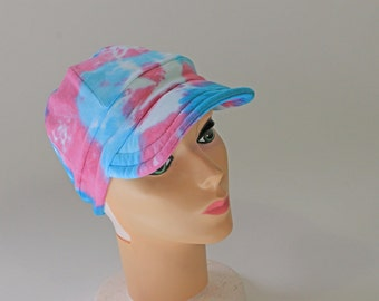 Bahama Blue and Pink Women's Ball Cap,  Headcover, Tie Dyed,   READY TO SHIP