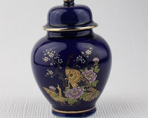 1980s Dark Blue Small High Glaze Porcelain Ginger Jar Pot with Lid Japanese Peacock with Flowers Metallic