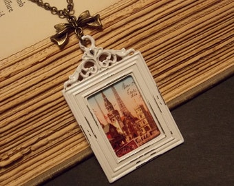 White and Bronze Photo Frame Necklace