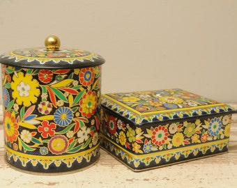 PAIR Vintage Tins with Lids Floral England