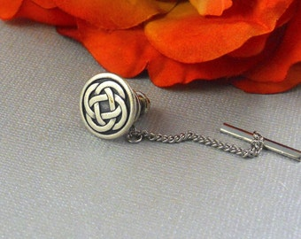 Celtic Knot Tie Tack Irish Good Luck Vintage Inspired, Nautical Antique Silver Celtic Tie Pin