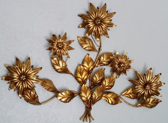 Wall Sconce Vintage Italian Vintage Antique Gold Gilded Floral Wall Sconce Lamp Wall Art Italian Art Italian Fixture Lighting Headboard