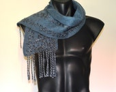 Merino Wool Scarf Man Woman Grey