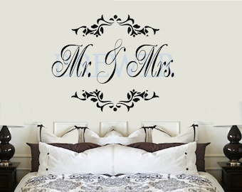 Mr. and Mrs. Last name Monogram VInyl Wall Lettering Decal Large Size Options Personalized custom name