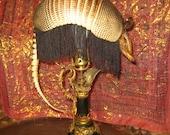 Taxidermy Armadillo Fringe Antique Lamp