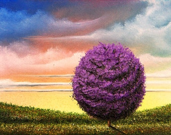 Purple Tree Whimsical Art Print, Summer Landscape Painting, Contemporary Canvas Art Cloudy Sunset Sky, Giclee Print of Original Oil Painting