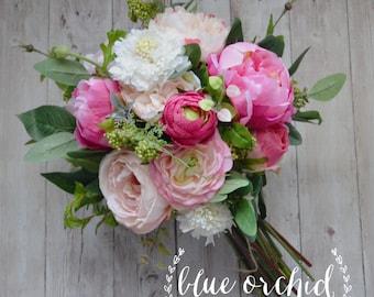 Country Bouquet - Dark Pink, Shabby Chic Bouquet, Wedding Bouquet, Peony Bouquet, Garden Bouquet, Wildflowers, Boho Bouquet