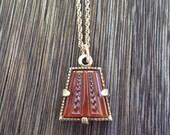 Vintage Art Deco Molded Carnelian Glass Fob Necklace