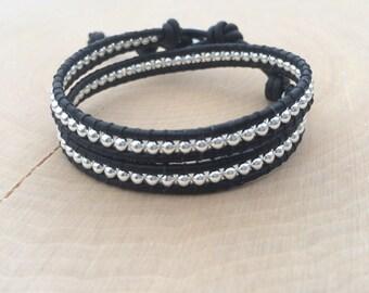 Sterling Silver Bracelet, Sterling Silver Wrap Bracelet, Black Bracelet, Double Wrap, Womens Bracelet, Everyday Bracelet, Choose Your Color