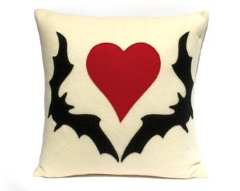 Bat Love- Appliqued Eco-Felt Pillow Cover in Antique White with Black and Red - 18 inches