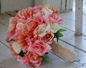 Silk bridal bouquet, pink coral roses, white roses, coral pink gerbera daisies, pink ranunculus
