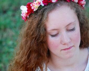 Flower crown, burgandy, pink, mini roses