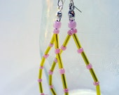 Paper Bead Dangle Earrings, Pink Beaded Dangle Earring, Silver, Long Dangle Earring, Rolled Paper Bead Jewelry, Pink and Green Earrings