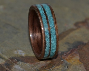 Wooden Walnut Handcrafted Ring with Double Turquoise Inlay Wedding Band, Anniversary Ring
