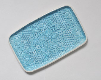 blue lace turquoise ceramic tray platter for appetizers antipasti bruschetta cheese sandwiches