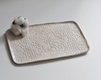 ivory white beige ceramic tray platter for  bruschetta cheese etc. eco rustic style