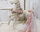 Wooden horse statue large hand painted shabby cottage chic hardwood high quality sculpture incredibly embellished decor anita spero design