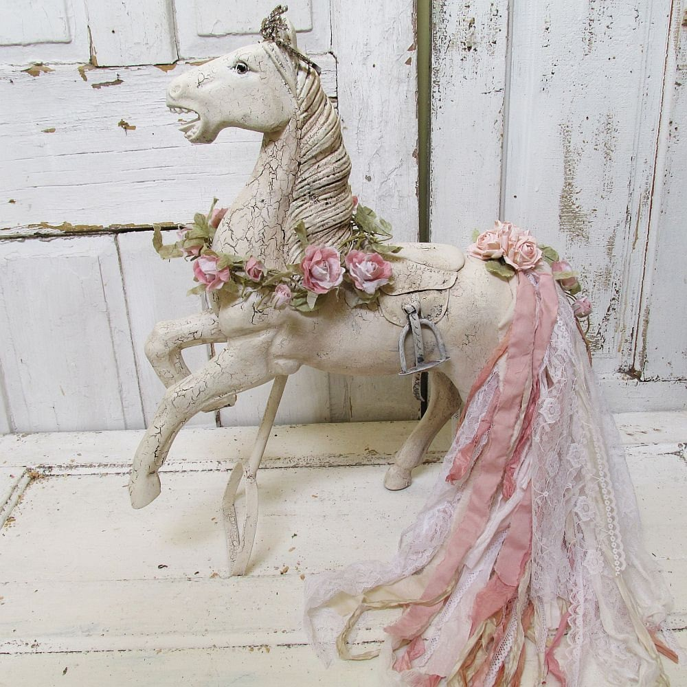 large white horse statue shabby cottage chic wood sculpture. Black Bedroom Furniture Sets. Home Design Ideas