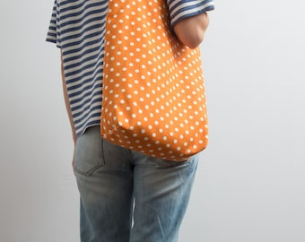 Tote Bag Canvas Polka Dot Tote Bag Geometric Print Bag Bright Orange Hipster Funny Tote Kawaii Shoulder Bag Gift Ideas For Her Streetwear
