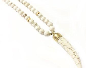 Ivory White Magnesite Tusk Horn Necklace - Long Beaded - Boho Necklace - Tusk Necklace - Gold Filled - Horn Necklace - Tusk Pendant - Ivory