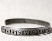 Pi Bracelet, 3.14 Math Jewelry, geeky, Teacher Gift, Cuff Bracelet, Mathematics, Numbers Pi Jewelry Maths Teacher 3.14159265358