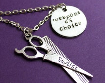 Hair Dresser Necklace, Weapons of Choice, Scissors and Comb, Hair Stylist, Beautician, Cosmotology Gift