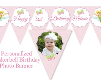 Tinker bell Fairy Garden Birthday party theme Banner - Printable File