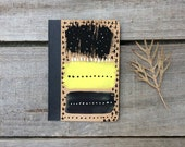Travel Journal Black & Yellow, hand painted notebook, small paper gift